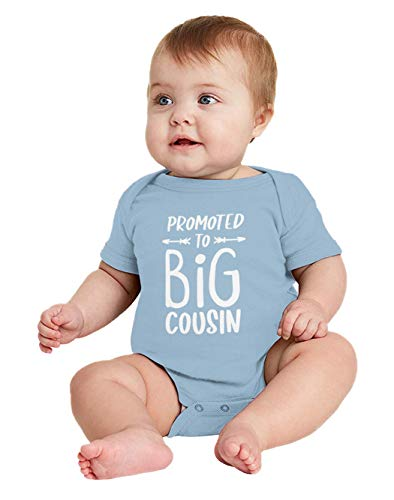Promoted to Big Cousin - New Baby Cuz Bodysuit (Light Blue, 6 Months)