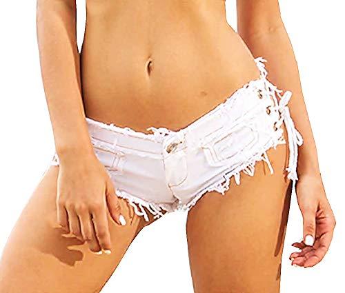 Vrouw - jeans - gescheurd - korte broek - gerafeld - lage taille - veters - vrouwelijk - meisje - korte broek - strand - zee - wit - origineel cadeau idee
