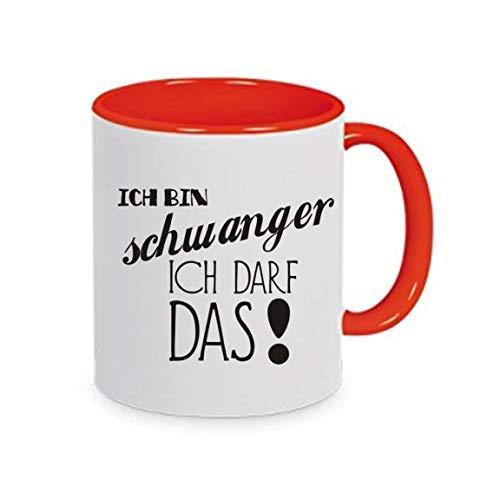 crealuxe Ich Bin schwanger - ich darf das - Kaffeetasse mit Wunschname, Bedruckte Tasse mit Sprüchen oder Bildern, Bürotasse,