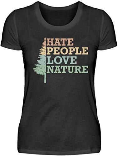 HOLZBRÜDER® Hate People Love Nature damski drewniany t-shirt idealny do pracy z piłą łańcuchową w lesie