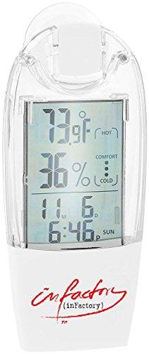 infactory Fensterthermometer: Solar-Fenster-Thermometer und Hygrometer mit Trend-Anzeige (Solar Fensterthermometer)