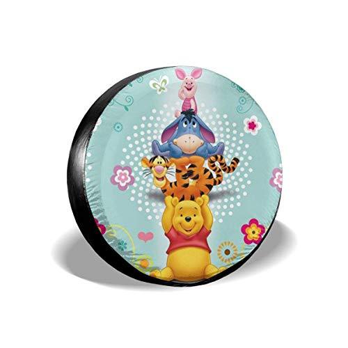 GOSMAO Win-nie The Pooh Cubierta de Repuesto para llanta, Cubierta de Rueda Universal de poliéster Impermeable a Prueba de Polvo para Viajes de RV SUV, 16 pulgadas-635