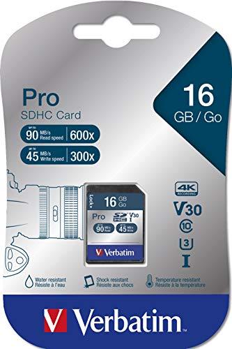 Verbatim Pro U3 SDHC-Karte - 16 GB, für 4K-Videoaufnahmen, Wasser- und stoßfest, schwarz