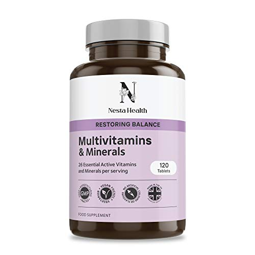 Complete Multivitamins & Minerals with 26 Essential Active Vitamins and Minerals - 120 Vegan Multivitamin Tablets - Nesta Health Made in The UK
