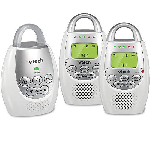 VTech DM221-2 Audio Baby Monitor with up to 1,000 ft of Range, Vibrating Sound-Alert, Talk Back Intercom, Night Light Loop & Two Parent Units (Renewed)