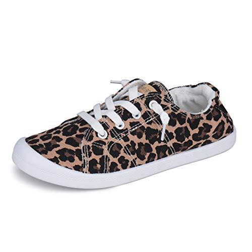 JENN ARDOR Women's Low Top Canvas Slip On Sneaker Comfort Casual Shoes Walking Flats Leopard Size: 7 UK