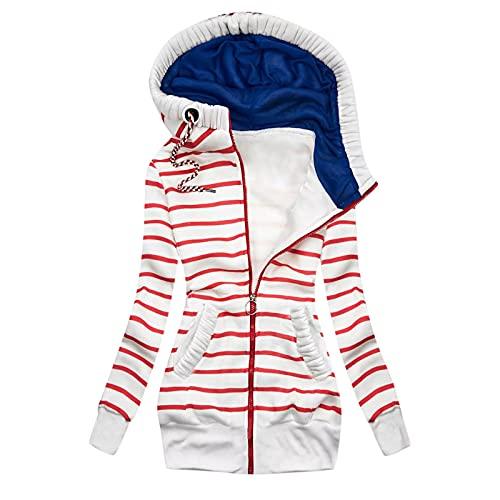 Briskorry Sudadera con capucha para mujer, a rayas, con cremallera, cómoda, para tiempo libre, con capucha, para adolescentes y niñas, con bolsillos laterales, rojo, M