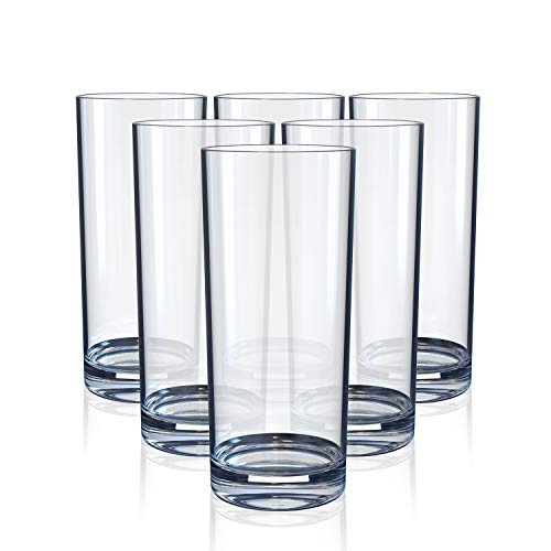 Highball Drinking Glasses, Clear Heavy Base Tall Bar Glass - Drinking Glasses for Water, Juice, Beer, Wine, Whiskey, and Cocktails | 10 Ounce Cups, Set of 6
