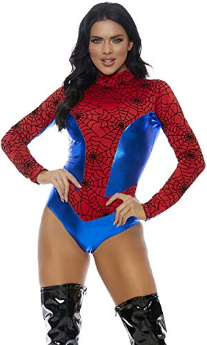Forplay Women's Metallic Mock Neck Bodysuit with Spiderweb Print Contrast, Red, Small/Medium