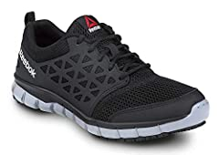 Microfiber and mesh upper Memory Tech Massage removable cushioned footbed Injected EVA midsole Oil and slip resistant SR Max MaxTrax rubber outsole Soft toe; no safety toe cap