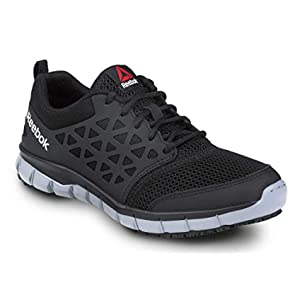 Reebok Work Sublite Cushion Work, Black/Gray, Men's, Slip Resistant Athletic Work Shoe (11.0 W)
