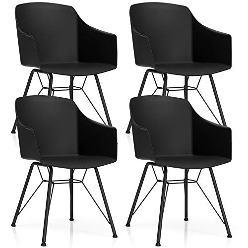 Giantex Set of 4 Modern Dining Chairs, Plastic Dining Arm Chairs w/Metal Base, Ergonomic Backrest, Anti-Slip Foot Pads, Modern Leisure Chairs for Dining Room, Kitchen (4, Black)