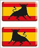 Artimagen Pegatina Bandera Rectángulo 2 uds. Toro España Resina 48x26 mm/ud.