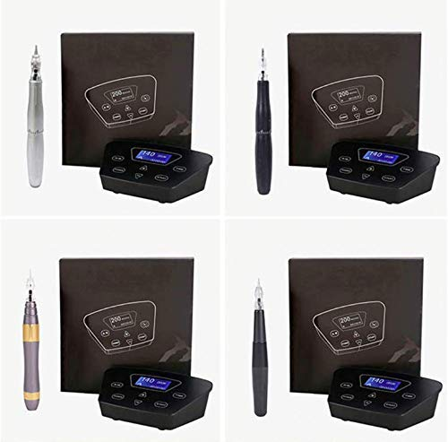 Permanent Makeup Machine - BIOMASER P200 Permanent Makeup Tattoo Machines Device Kit Include Digital Power Supply Permanent Makeup Tattoo Pen and 2 Connect Cable with 10pcs tattoo needles