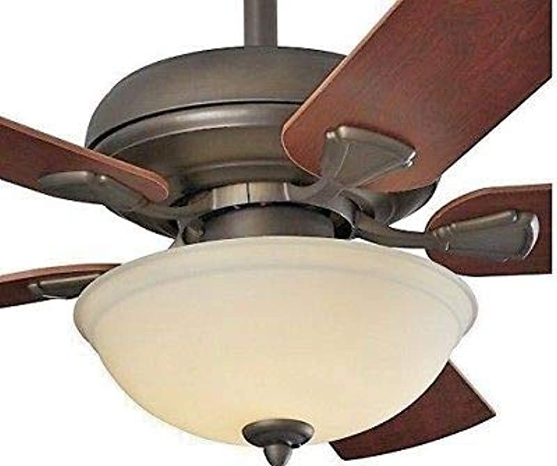 Energy Efficient 52 Inch LED Ceiling Fan With Nutmeg Espresso Blades And White Glass Light Bowl