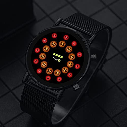 shandianniao DIRIGIÓ-Electronic Bola en el Reloj,Reloj de Carpa Redondo Redondo Creativo,Reloj Ultrafino con Personalidad de Moda,Superficie de Vidrio Impermeable (Color : B)