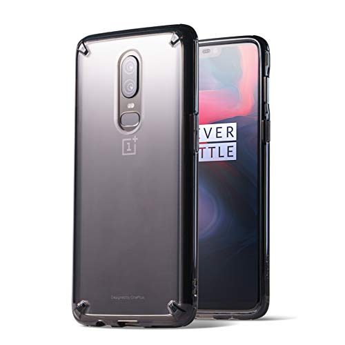 Ringke Funda OnePlus 6, [Fusion] Claro PC TPU Back [Anti-Cling Dot Matrix Technology] Ligero Transparente TPU Protección de Caída Protectora Cover para OnePlus6 2018 - Smoke Black/Nero