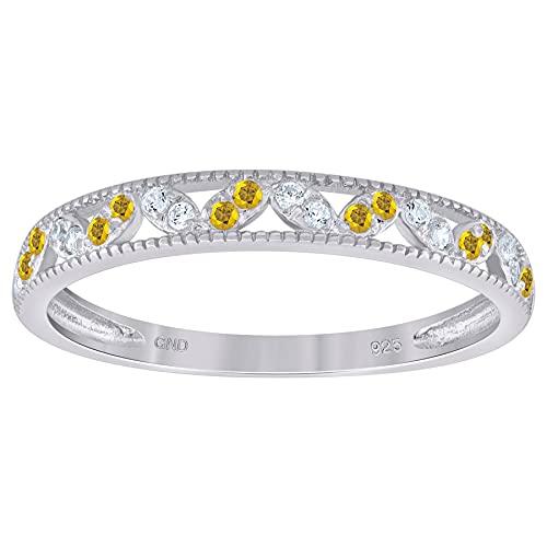 Anillo de boda apilable de plata de ley 925 con circonita cúbica y circonita cúbica de imitación de diamante semieternidad, tamaño de joyería para mujeres