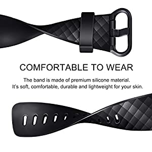 """Pack 3 Silicone Bands for Fitbit Charge 4 / Fitbit Charge 3 / Charge 3 SE Replacement Wristbands for Women Men Small Large(Without Tracker) (Large: for 7.1""""-8.7"""" Wrists, Black+Navy Blue+Wine Red)"""