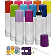 12 Rainbow Lid Colored 10ml Clear Glass Roller Bottles For Oils - The Perfect Essential Oil Roller Bottles With Stainless Steel Rollerballs For Essential Oils and Perfume
