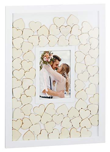 MIJOMA Gästebuch Fotorahmen für Fotos 10x15cm, zur Hochzeit, Jubiläum, Geburtstag (Bilderrahmen 31x42cm weiß mit 72 Holzherzen)