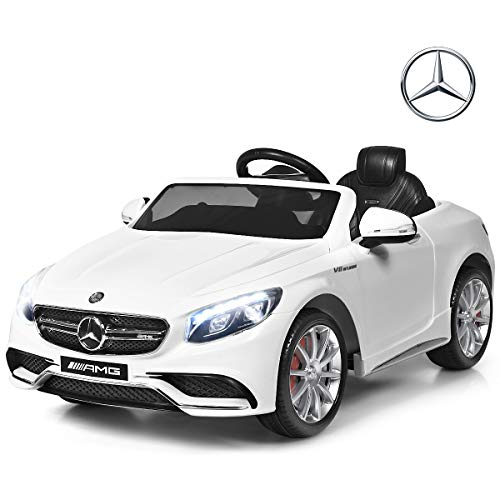 Costzon Ride On Car, 12V Licensed S63 Battery Powered Electric Vehicle w/ Parental Remote Control, Headlights, Music, Horn, MP3/USB/TF, 3 Speed Kids Ride On Toy (White)
