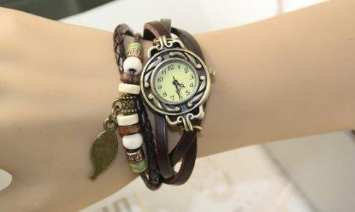 『【アンティーク風 レザー ブレスレット ウォッチ リーフ チャーム付】本革 ベルト クォーツ腕時計 (グリーン)』の2枚目の画像