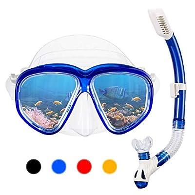 OMORC Adult Snorkel Set,Anti Leak Snorkel Gear for Women and Men,Anti-Fog Impact Resistant Panoramic Tempered Glass Snorkel Set,Free Breathing&Easy Adjustable Strap Snorkel Set
