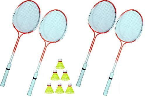 Premium Badminton Play Set Combo (4 Racket and 6 Shuttlecocks) Gift, Indoor Game for Fun, Activity and Fitness for Children &...