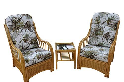 Garden Market Place Sorrento-Set di mobili da Giardino in Canna, 2 sedie e Un tavolino, in Tessuto con Design a Palme, Multicolore, 119 X 80 X99