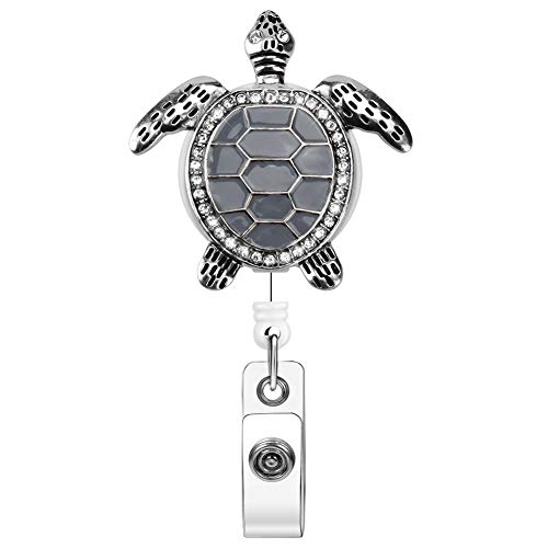 Xoqo Luxury Retractable Name Card Badge Holder with Alligator Clip, Bling Rhinestone Retractable Badge Reel, 24 inch Glitter Rose Nurse Retractable Badge Holder (Grey Turtle)