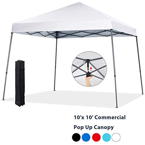 COOSHADE 10x10ft Slant Leg Pop Up Canopy Tent,Easy One Person Setup Instant Sun Protection Beach Shelter,Portable Sports Cool Cabana(White)