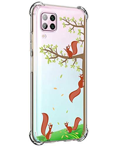 biteri Hülle für Huawei P40 Lite Handyhülle Ultra Dünn Original Tier Design für Huawei P40 Lite Handy Hüllen Silikonhülle Durchsichtig Kristallklare mit Muster Anti Gelb