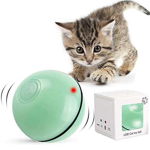 Bola de Gato, Juguetes para Gatos Pelotas, Carga USB Bola Giratoria Automática, Bola Eléctrica de 360 Grados Juguete Interactivo con luz LED para Ejercicio Animal Doméstico Gatos y Perros (Verde)