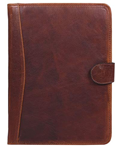 Premium Genuine Leather Business Portfolio and Professional Organizer, with a Zippered Closure,by Aaron Leather (Walnut Brown)