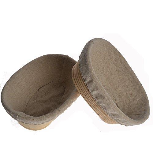 2 piezas 20,32 cm/21 cm Oval Brotform pan molde para pan naciente en parte posterior masa humedades de comprobación con ribete de lino cesta de mimbre maletero sports UK