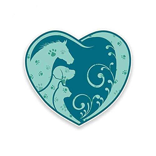 13 cm x 13 cm Horse Hond Kat Heart Paw Print Persoonlijkheid Sticker Anime-Sticker voor Auto Pull Flower