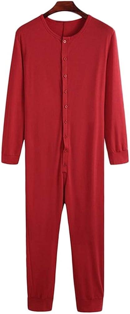 Sucastle Men's Long Sleeve Pajamas Onesie Henley Sleepwear Jumpsuit Stretchy Elastic Button Down Pj Sets