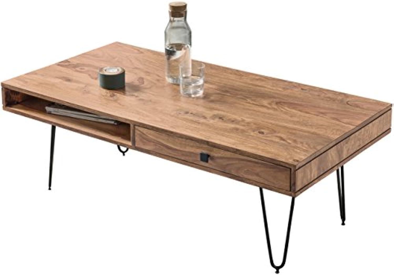 FineBuy Couchtisch Massiv-Holz Akazie 117 cm breit Wohnzimmer-Tisch Design Metallbeine Landhaus-Stil Beistelltisch Natur-Produkt Wohnzimmermbel Unikat modern Massivholzmbel Echtholz rechteckig