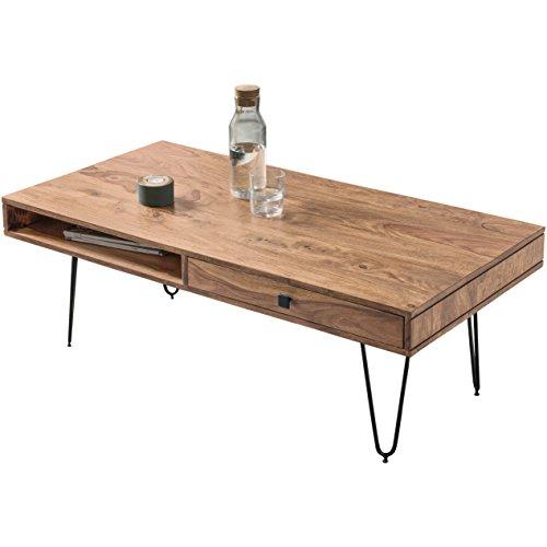 FineBuy Couchtisch Massiv-Holz Akazie 117 cm breit Wohnzimmer-Tisch Design Metallbeine Landhaus-Stil Beistelltisch Natur-Produkt Wohnzimmermöbel Unikat modern Massivholzmöbel Echtholz rechteckig