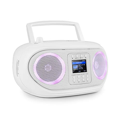 auna Roadie Smart Boombox, SmartRadio: Internetradio/DAB+ / UKW, CD-Player, Stereoanlage, USB-Port, MP3, Bluetooth, 3,5 mm-Cinch-Klinke-AUX-Eingang, mehrfarbige LED-Beleuchtung, weiß