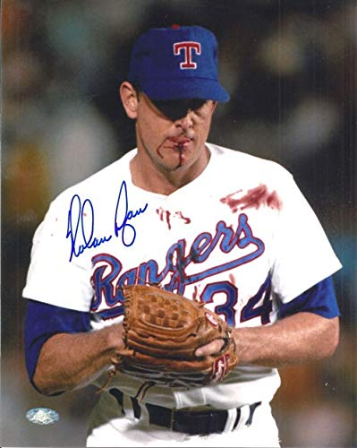 Nolan Ryan Texas Rangers MLB Hand Signed 8x10 Photograph Bloody Lip