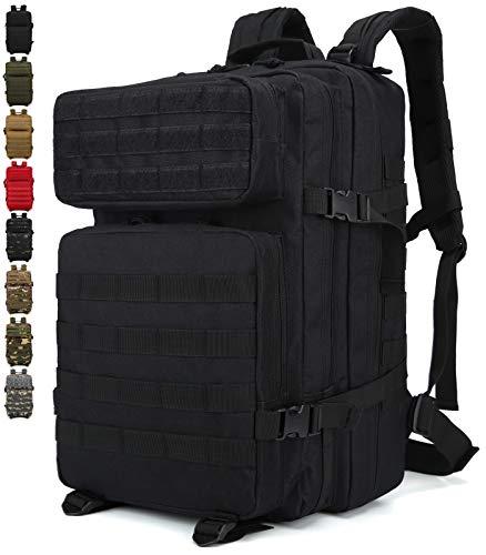 Doshwin Taktischer Rucksack Survival Tactical Militärrucksack Tarnrucksack US Army Molle Assault Pack für Herren Damen / 40L (Schwarz)
