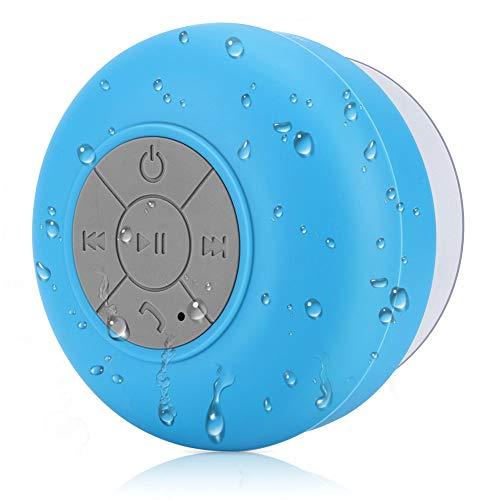 BONBON Shower Speaker Bluetooth Waterproof Water Resistant Handsfree Portable Wireless Shower Speaker,Build-in Microphone, Solid Suction Cup, 4 hrs Play Time,(Blue)