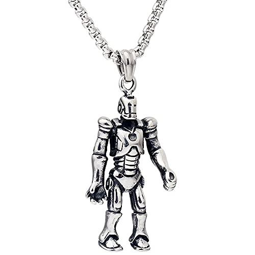collar Iron Man Robot Titanio Acero Inoxidable Hombres Colgante Collar Cadena
