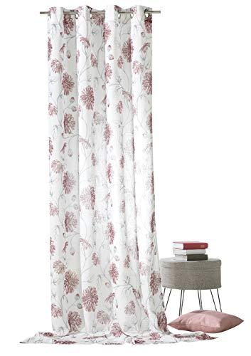 heimtexland ® Ösenschal Blumen Rot auf Leinen Optik Natur Landhaus Vorhang Modern HxB 245x140 Gardine Typ649
