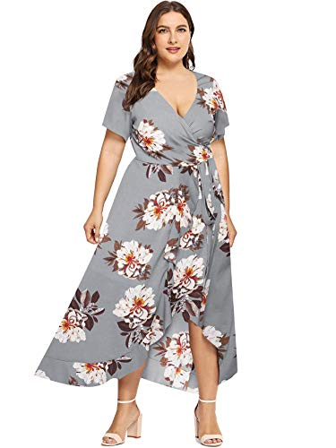 Milumia Plus Size Casual V Neck Belted Empire Waist Asymmetrical Maxi Dress Grey X-Large Plus