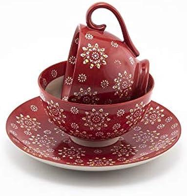 Mira Designs Attractive 3 Piece Dinnerware Set 8 inch Plate 5.25 inch Bowl 12 oz Latte Mug (Red Floral)