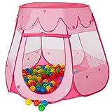 MC Star Tienda Plegable para Niños Pop-up Casa de Juego Tienda de Campaña Infantil Juguetes Casa y Piscina para Interiores y Exteriores con 100 Bolas Océano (Rosa)