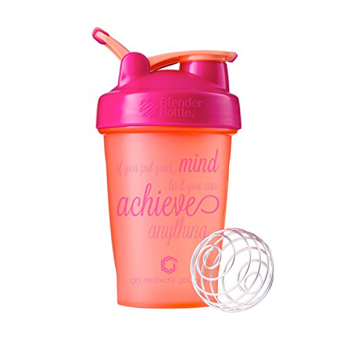 GOMOYO Motivational Quotes on Blender Bottle Brand Shaker Bottles, 20oz and 28oz Protein Shakers, Fitness Gift, Multiple Designs and Colors Available (Achieve Anything - 20oz - Plum)